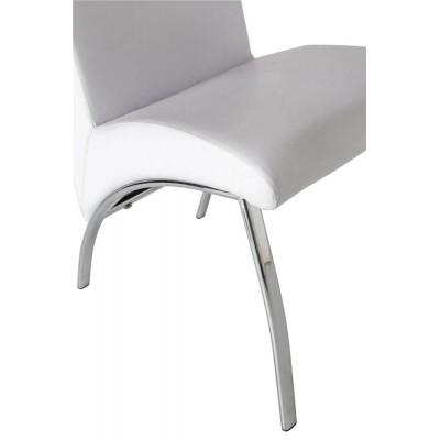 Silla Arco Blanco. Estructura acero. Asiento y respaldo tapizados en piel sintética. Blanco. Camino a Casa.