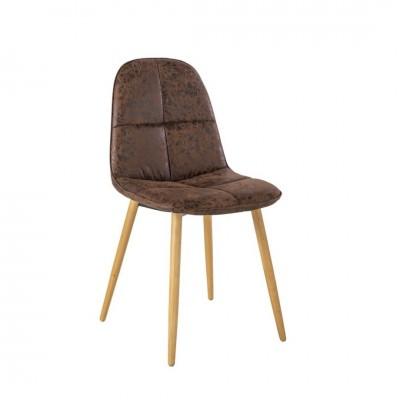 Silla Seam. Estructura acero. Patas madera. Tejido marrón.