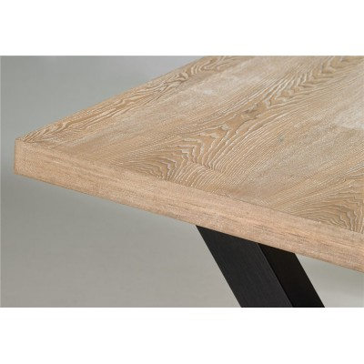 Mesa Comedor Essential. Estructura acero. Tapa madera DM. Marrón.