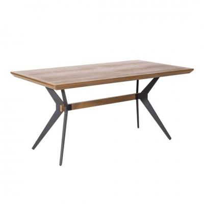 Mesa Comedor Dog. Estructura acero. Tapa madera DM. Marrón.