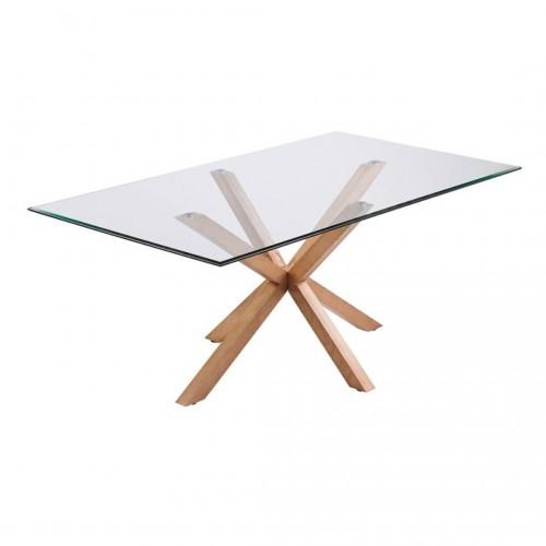 Mesa Comedor Idol. Estructura madera. Tapa cristal. Natural. Camino a Casa.