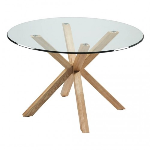Mesa Comedor Idol Natural. Estructura madera. Tapa cristal. Natural.