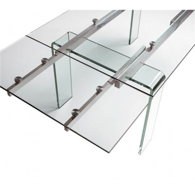 Mesa Comedor Cristal. Estructura acero. Cristal.