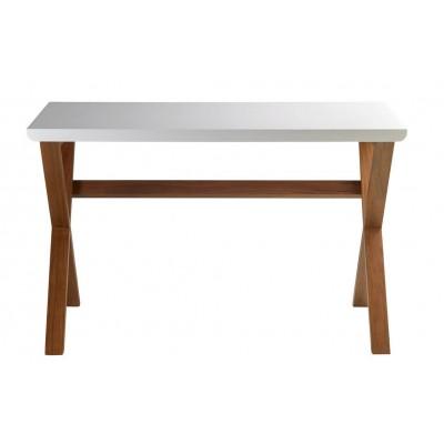 Mesa Oficina Unmade. Estructura madera nogal. Tapa madera DM blanco.