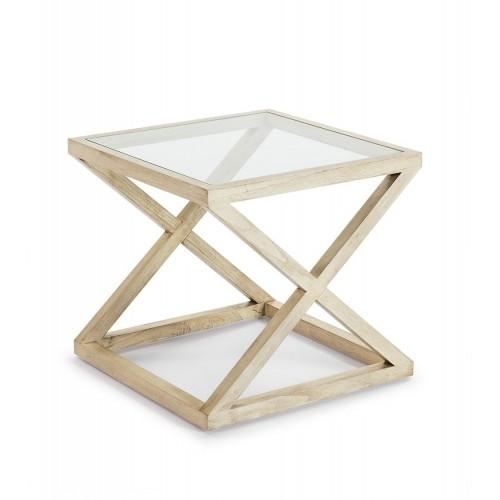 Mesa auxiliar Alexis cuadrada. Cristal y madera. Blanco velado. Thai Natura