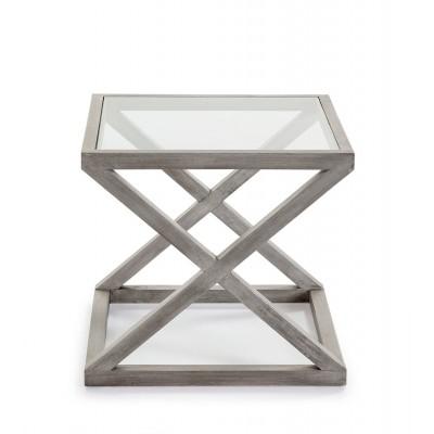 Mesa auxiliar Spiro cuadrada. Cristal y madera. Gris velado. Thai Natura
