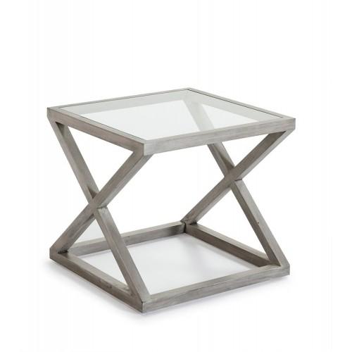 Mesa auxiliar Alexis cuadrada. Cristal y madera. Gris velado. Thai Natura