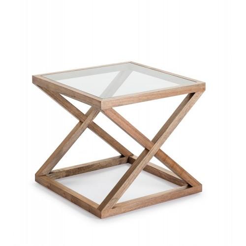 Mesa auxiliar Yorgos cuadrada. Cristal y madera. Natural velado. Thai Natura