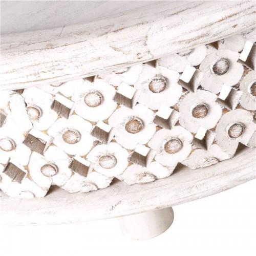 Mesa Centro Neema. Estructura hierro y madera mango. Pintura blanco.