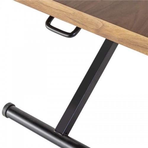 Mesa Centro Lift - Elevable. Estructura hierro y tapa DM. Pintura natural nogal.