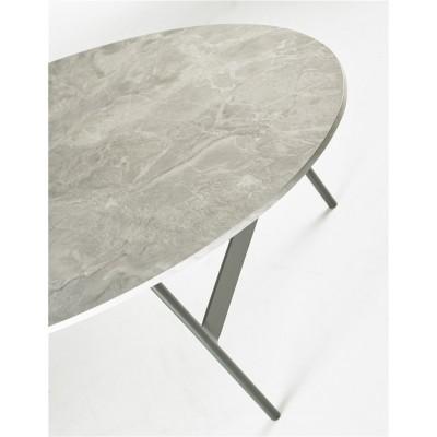 Mesa Centro Óvalo. Estructura hierro. Tapa cerámica efecto mármol. Gris.