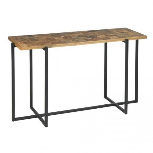 Consola Shangri-La. Estructura hierro negro. Tapa madera mango. Natural.
