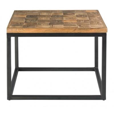 Mesa Rincón Shangri-La. Estructura hierro negro. Tapa madera mango. Natural.