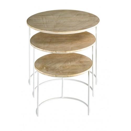 Set Mesas Full Moon. Estructura hierro blanco. Tapa madera mango. Natural.