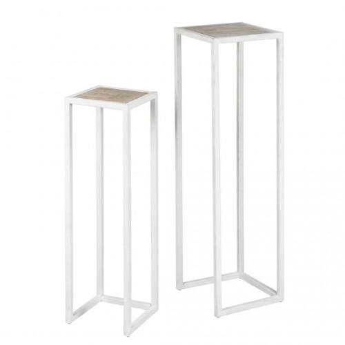 Set Pedestal Reef Blanco. Estructura hierro. Tapa madera mango. Blanco. Camino a Casa.
