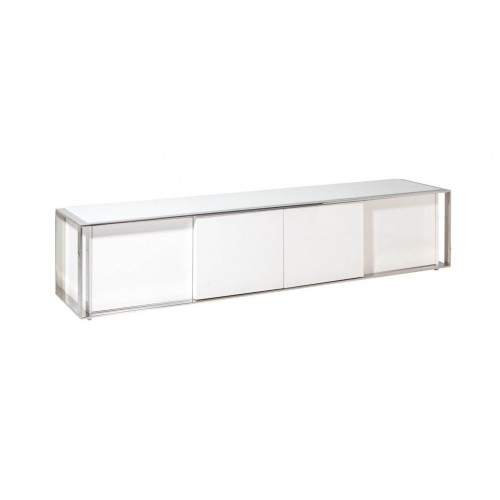 Mueble TV Suite. Estructura  DM acero inoxidable. Laca brillo. Blanco.