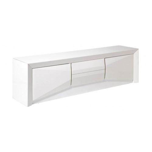 Mueble TV Arc. Estructura tablero DM. Interior melamina. Laca brillo. Blanco. Camino a Casa.