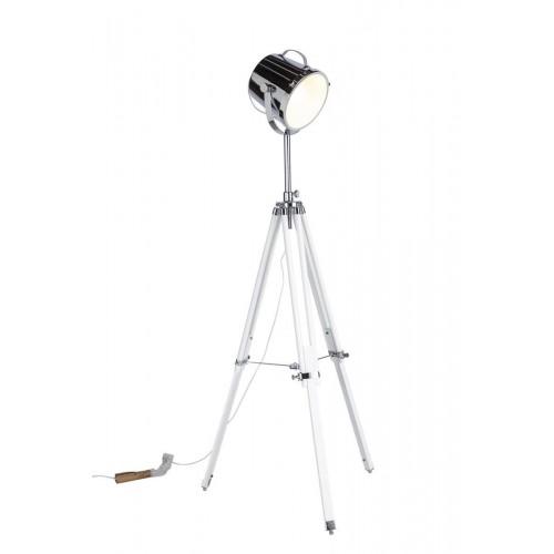 Lámpara Pie Galileo. Estructura trípode madera DM. Tulipa hierro y cristal. Pintura brillo. Plata.