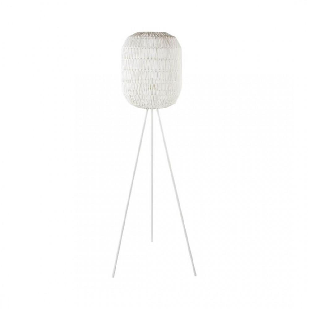 Lámpara Pie Cotton. Estructura hierro pintado. Tulipa papel revestida cuerda. Blanco.