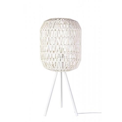 Lámpara Mesa Cotton. Estructura hierro pintado. Tulipa papel revestida cuerda. Blanco.