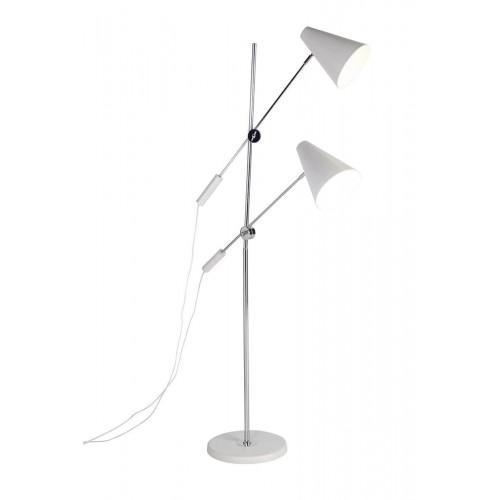 Lámpara Pie Cone. Estructura hierro. Tulipa hierro. Blanco.
