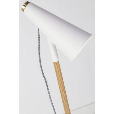 Lámpara Pie Delicious. Estructura hierro y madera. Blanco.