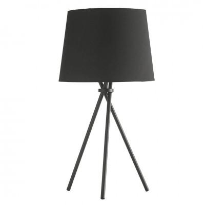 Lámpara Mesa Tipi. Estructura acero. Tulipa tela. Negro.