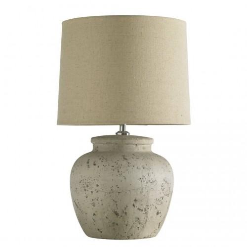 Lámpara Mesa Santorini. Estructura cerámica. Pintura. Blanco.