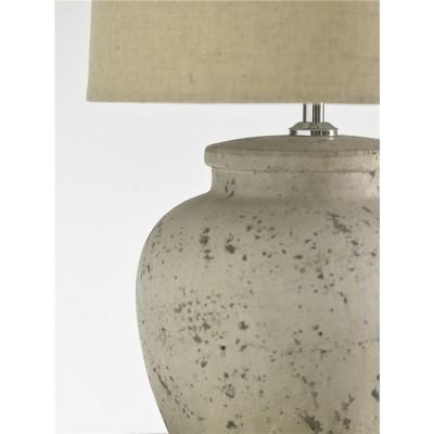 Lámpara Mesa Santorini. Estructura cerámica. Pintura. Blanco. Camino a Casa.