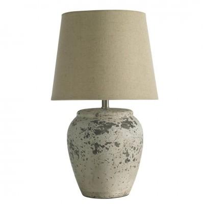 Lámpara Mesa Corinto. Estructura cerámica. Pintura. Blanco.