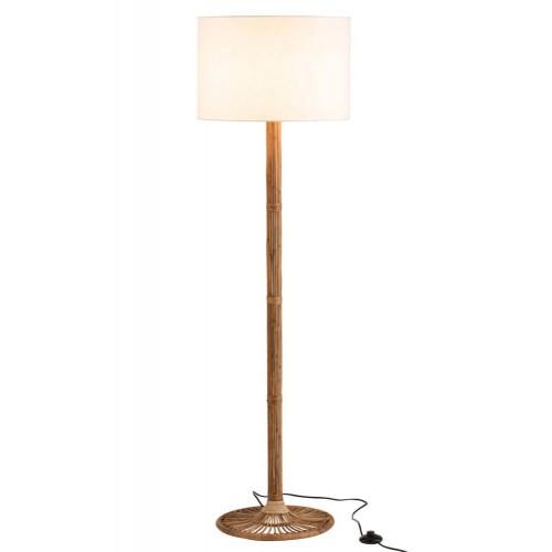 Lámpara pie Olimpia. Bambú y ratán. Blanco y natural