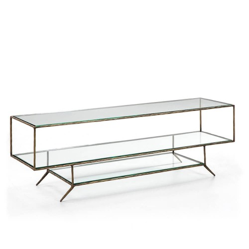 Mueble TV Dominic. Metal y cristal. Dorado. Thai Natura
