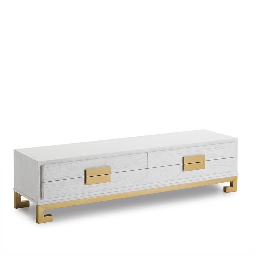 Mueble TV Wendell. Madera. Blanco y dorado. Thai Natura