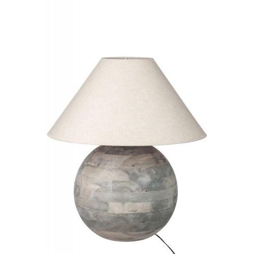 Lámpara mesa Cambre. Madera y algodón. Gris. J-Line.