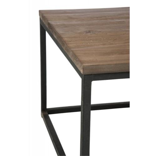Mesa auxiliar Clubes. Madera y metal. Marrón y negro.