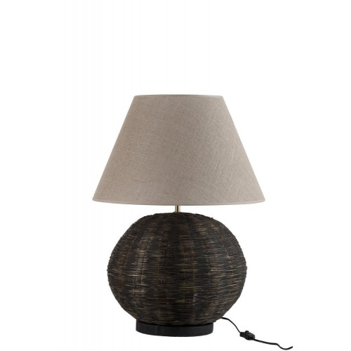 Lámpara mesa Giglio. Bambú. Negro. J-Line.