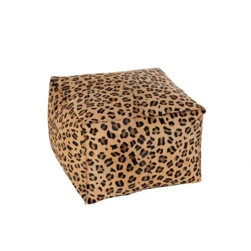 Puff Leopardo. Cuero. Marrón con acabado leopardo. J-Line.