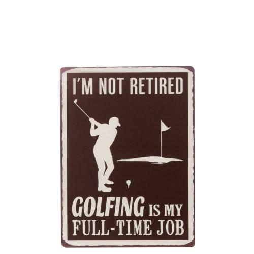 Cartel Golfing. Metal. Marrón. J-Line.