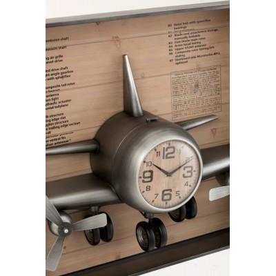 Reloj Avión. Metal y Mdf. Marrón negro. J-Line.