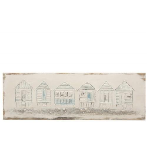 Pintura Cabaña Playa. Pintura sobre lienzo y madera, con dibujos de cabañas de playa. Blanco, azul y rojo. J-Line.