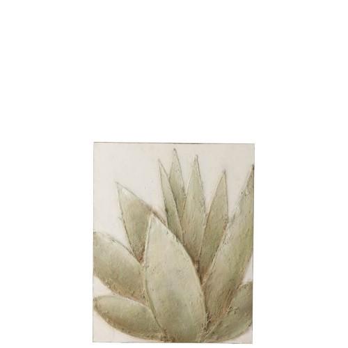 Pintura Planta. Lienzo y madera. Verde y blanco. J-Line.