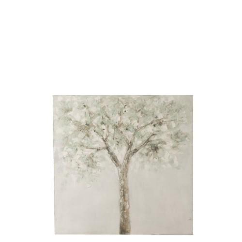 Pintura Árbol. Lienzo y madera. Verde y blanco. J-Line.
