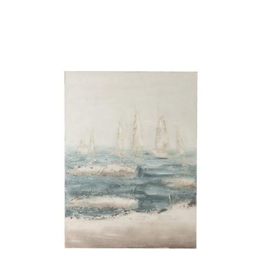 Pintura Barcos Mar. Lienzo madera. Verde y blanco. J-Line.