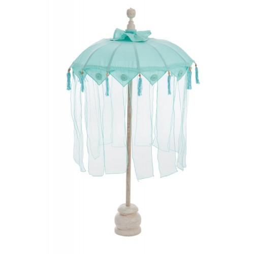 Parasol Tul. Algodón y madera. Azul. J-Line.