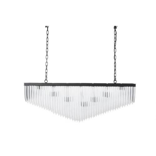 Lámpara Araña Rectangular. Vidrio y metal. Transparente y negro. J-Line.