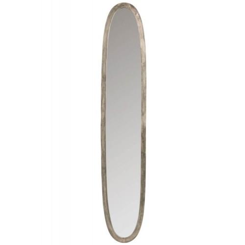 Espejo Oval. Aluminio y cristal. Gris. J-Line.