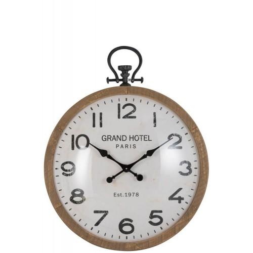 Reloj Bola Large. Madera. Vidrio. Natural y blanco. J-Line.