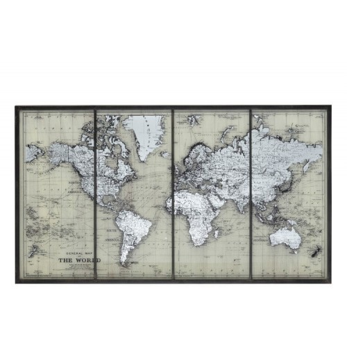 Marco Mapa Mundo. Cristal. Gris. J-Line.
