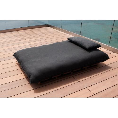 Hamaca Doble Lagoon. Hamaca en tejido de exterior. resistente al rayo UV, agua, manchas. madera de teka. Tejido marrón. Incitta.