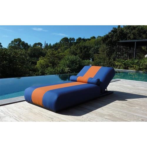 Hamaca Maya Azul Naranja. Tejido resistente a rayo UV, agua y manchas. Azul y naranja. Incitta.